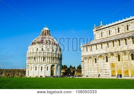 Baptistery And The Cathedral Of Pisa