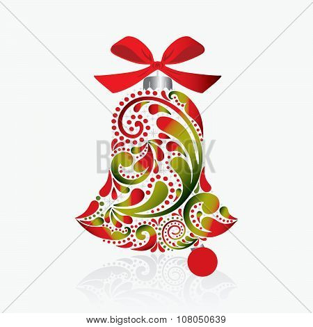 Print.Christmas bell. Isolated object.