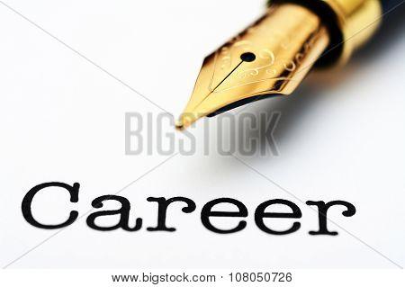 Fountain Pen On Career Text