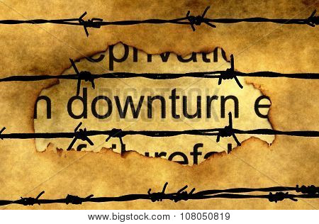 Downturn Text On Paper Hole Against Barbwire