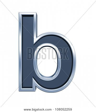One lower case letter from grey glass with chrome frame alphabet set, isolated on white. Computer generated 3D photo rendering.