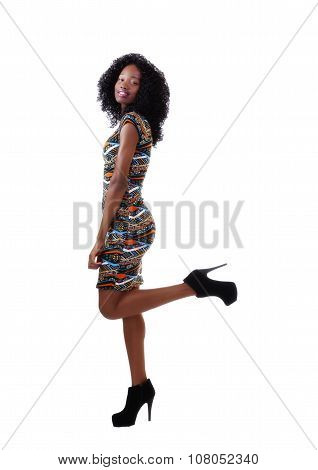 Smiling Attractive African American Woman Side View
