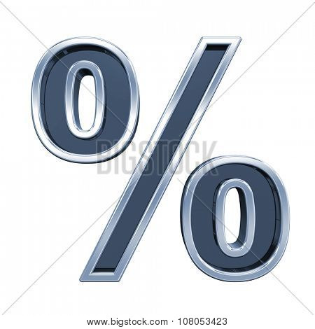 Percent sign from grey glass with chrome frame alphabet set, isolated on white. Computer generated 3D photo rendering.