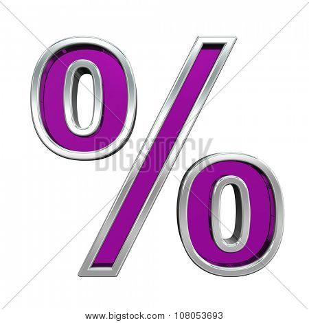 Percent sign from purple glass with chrome frame alphabet set, isolated on white. Computer generated 3D photo rendering.