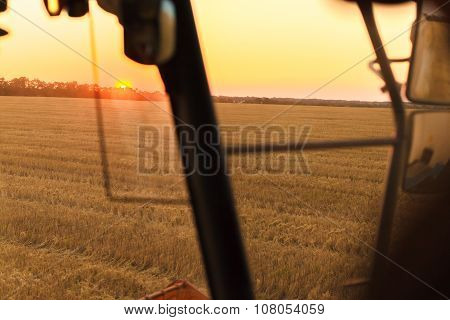 Combine Harvesting Field