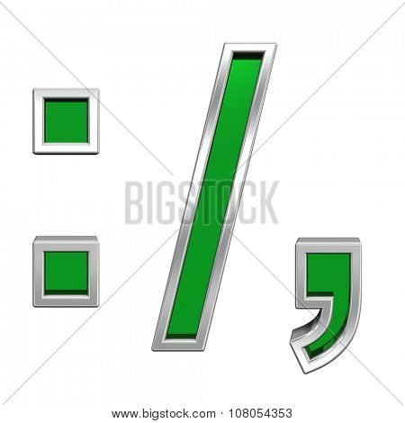 Colon, semicolon, period, comma sign from green glass with chrome frame alphabet set, isolated on white. Computer generated 3D photo rendering.