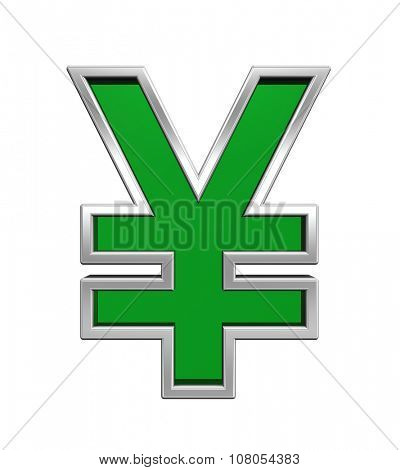 Yen sign from green glass with chrome frame alphabet set, isolated on white. Computer generated 3D photo rendering.