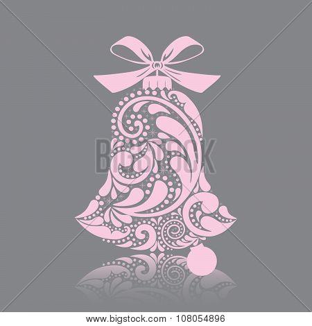 Print. Pink christmas bell.