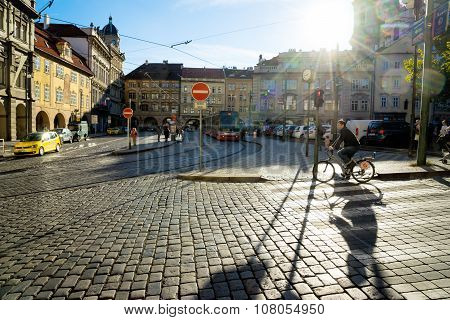 Prague, Czech Republic - November 08, 2015: People On The Streets Of Prague