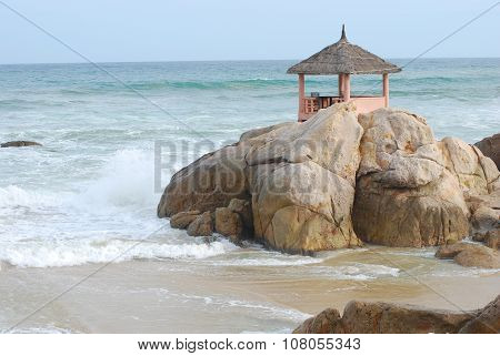 The gazebo restaurant on a huge boulder
