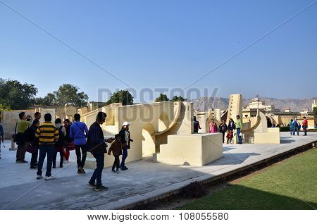 Jaipur, India - December 29, 2014: People Visit Jantar Mantar Observatory In Jaipur