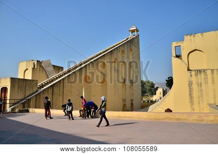 Jaipur, India - December 29, 2014: Tourist Visit Jantar Mantar Observatory In Jaipur