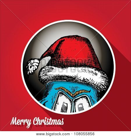 vector monster face character in santa red hat.