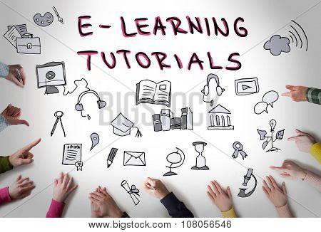 E learning tutorials, online education concept