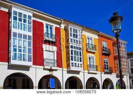 Santander street in Burgos arcades facades in Castilla Leon of Spain