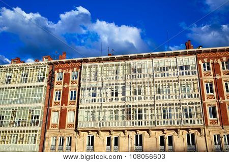Burgos buildings facades in Rey San Fernando square at Castilla Spain