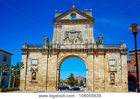 Sahagun middle center of Saint James Way San Benito arch in Leon Spain