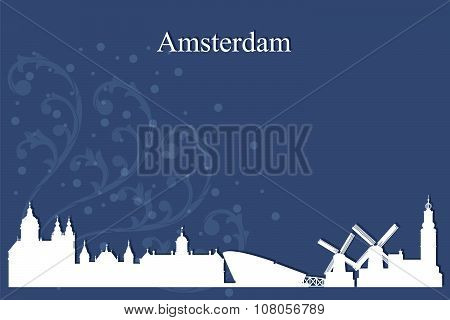 Amsterdam City Skyline Silhouette On Blue Background