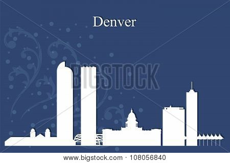 Denver City Skyline Silhouette On Blue Background
