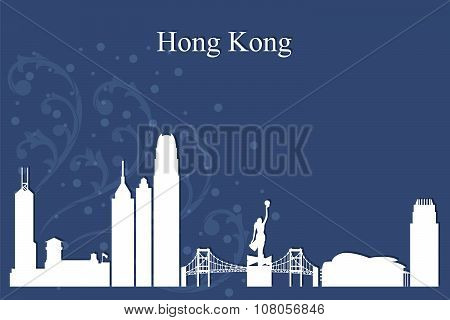 Hong Kong City Skyline Silhouette On Blue Background