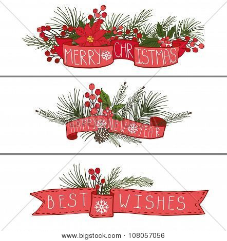 Christmas,New year horisontal banners