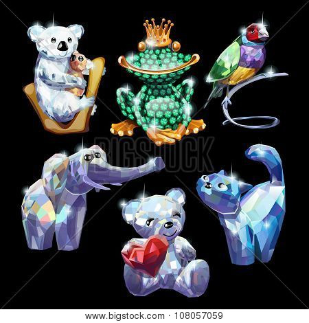 Set of animals made of precious stones, brilliant figure on a black background
