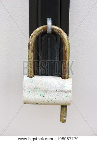 Closeup  Door With Lock