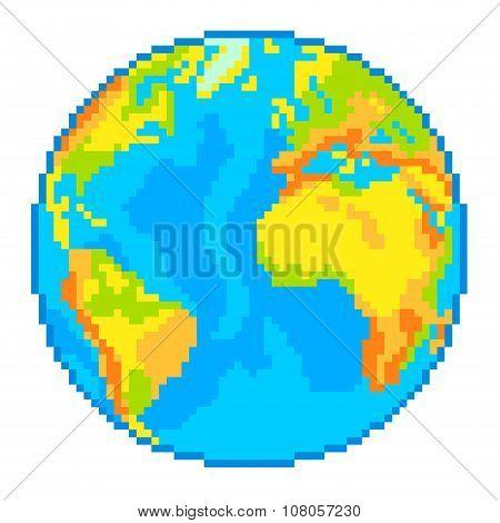 Pixel Earth Globe Isolated Vector