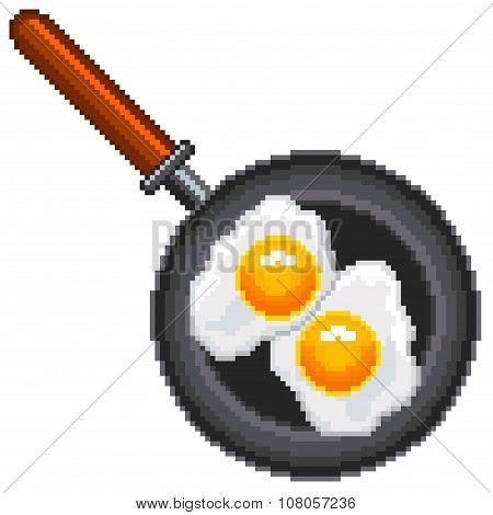 Pixel Fried Eggs Isolated Vector