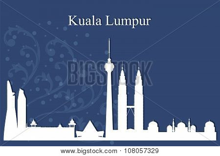 Kuala Lumpur City Skyline Silhouette On Blue Background