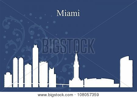 Miami City Skyline Silhouette On Blue Background