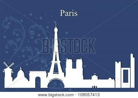 Paris City Skyline Silhouette On Blue Background