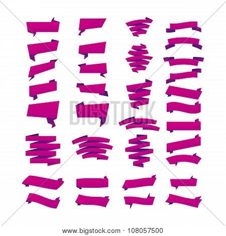 Violet Collection Of Sale Discount Origami Styled Website Ribbons, Corners, Labels, Curls And Tabs.