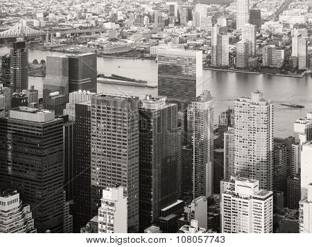 Black and white urban landscape of New York City overlooking the East River