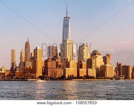 The skyline of Lower Manhattan at sunset in New York City