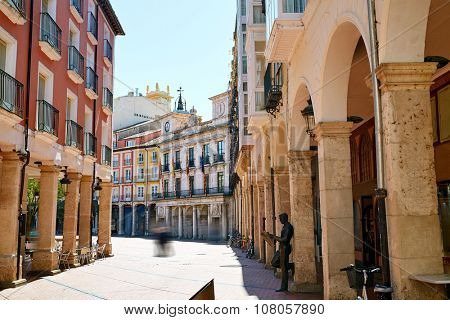 Burgos arcades to Plaza Mayor square in Castilla Leon of Spain