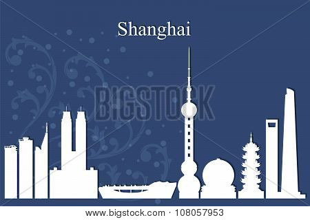 Shanghai City Skyline Silhouette On Blue Background