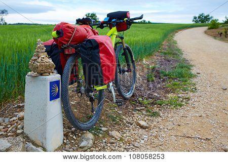 The Way of Saint James biking between Navarra and Rioja in Spain