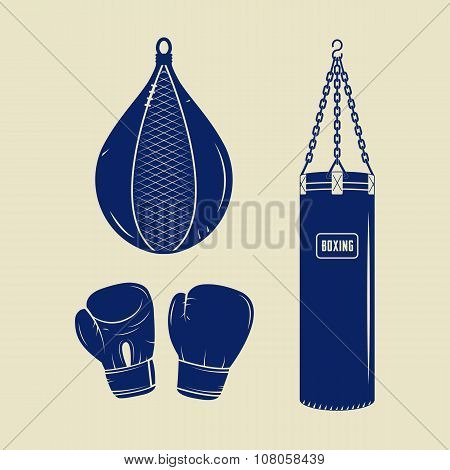 Boxing And Martial Arts Logo Badges, Labels And Design Elements In Vintage Style.