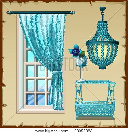 Set for the interior, window, chandelier and table