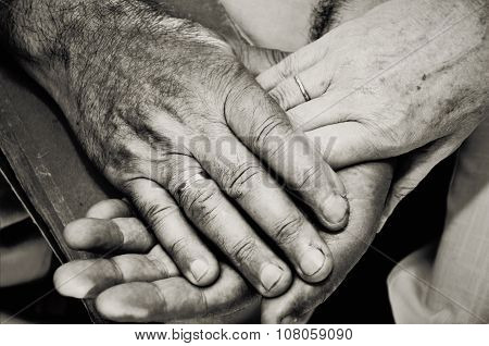 Monochrome Image Of Old Married Couples Hands. Horizontal