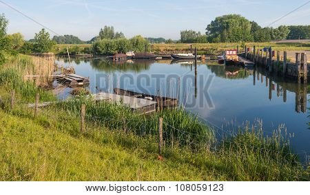 Picturesque Small Port Situated On A Dutch River