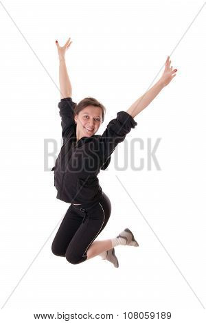 Cheerful Jumping Woman
