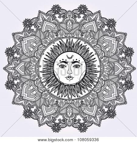 Sun Mandala Round Ornament illustration.