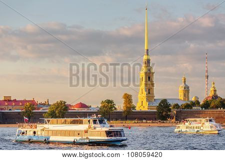Peter And Paul Fortress And Ships On Neva