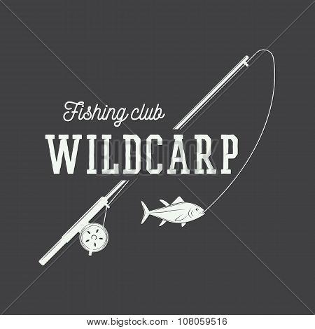 Vintage Fishing Label, Log, Badge. Vector Illustration