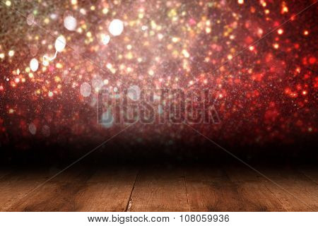 Shimmering light design over boards with copy space