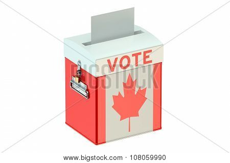 Voting Concept With Flag Of Canada