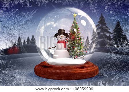 Digitally generated Christmas tree and snowman in snow globe