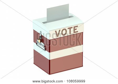 Voting Concept With Flag Of Latvia On Ballot Box